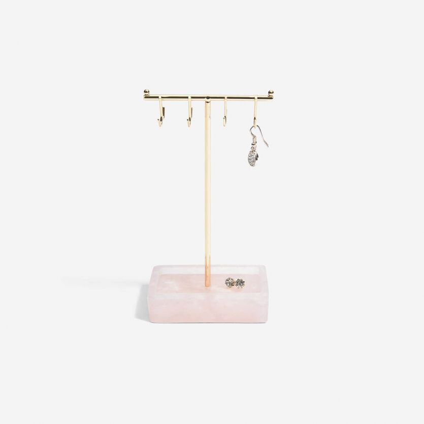 Small Rose Quartz T-Bar Jewellery Stand - The Organised Store