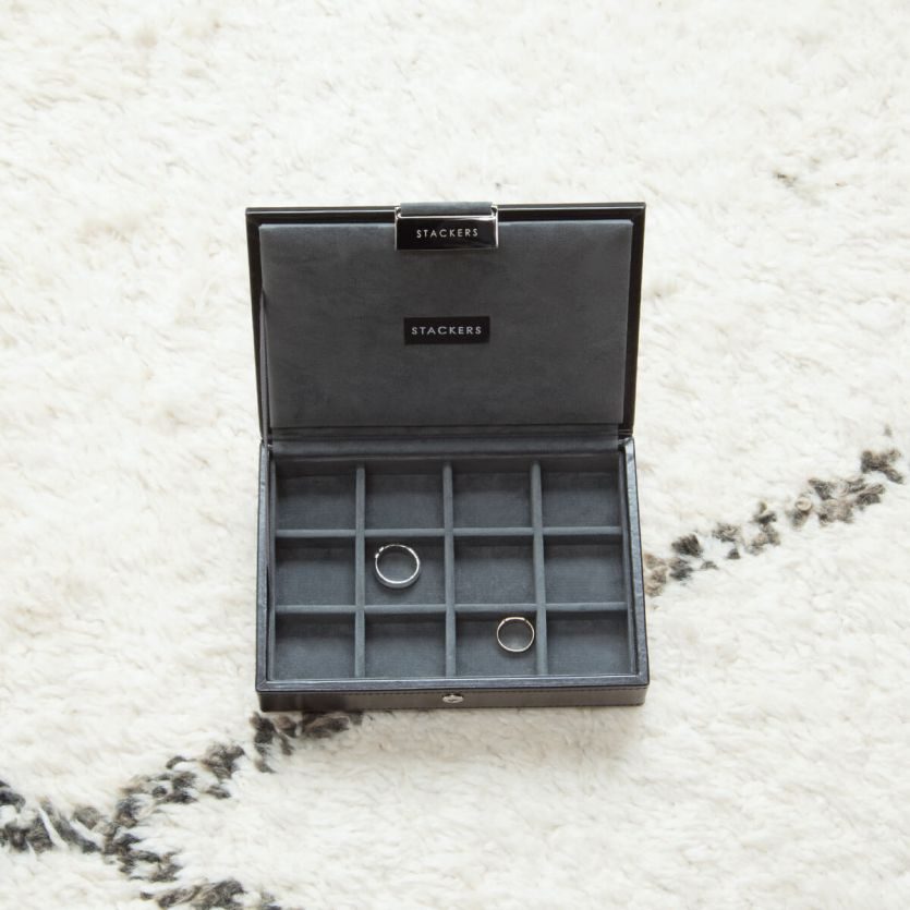 Stackers Black Lidded Cufflink Box - The Organised Store