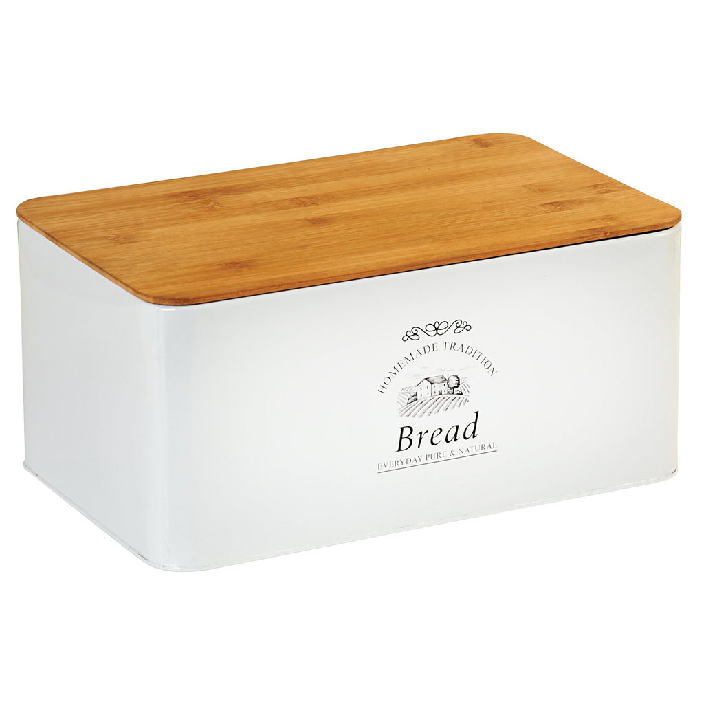 Bread Bin White & Bamboo - The Organised Store