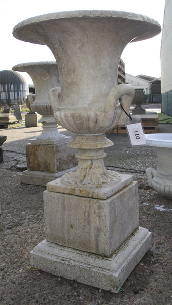 Campana urn & pedestal / travertine 011 - 1142 mm (H)