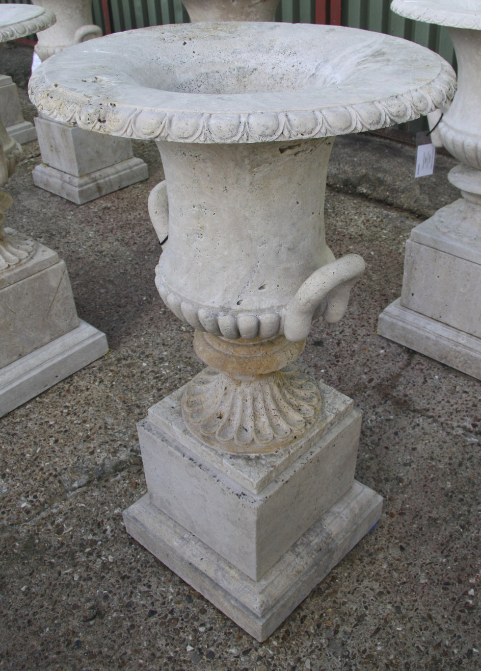Campana urn & pedestal / travertine 012 - 1142 mm (H)