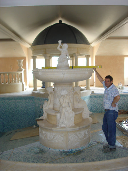 26. Bespoke Marble Fountain in Swimming Pool