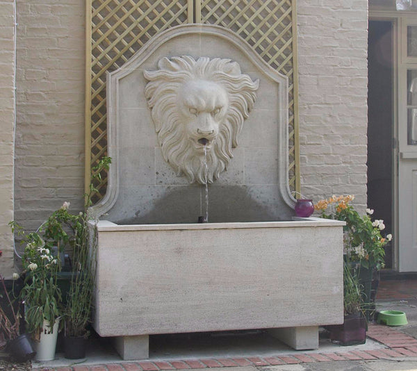 Lions head & trough fountain in sandstone.   1700 mm (H)