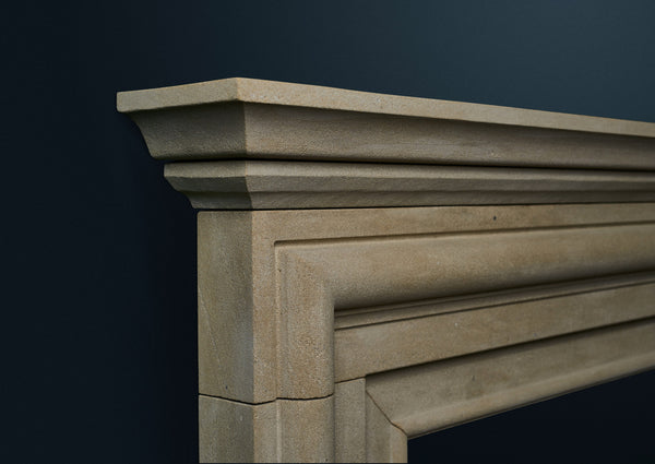 18th Century Bolection fire surround carved from solid sandstone