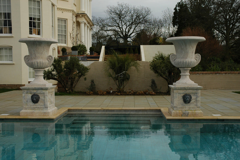 29.  Bespoke Marble Urns for Swimming Pool