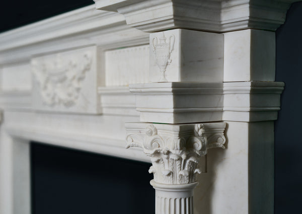 Adam Corinthian fireplace in veined white marble