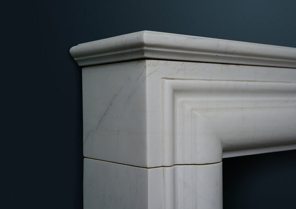 "17th Century French ""B"" size fireplace carved from white marble"