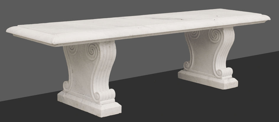 Classical Straight Bench (White Marble)