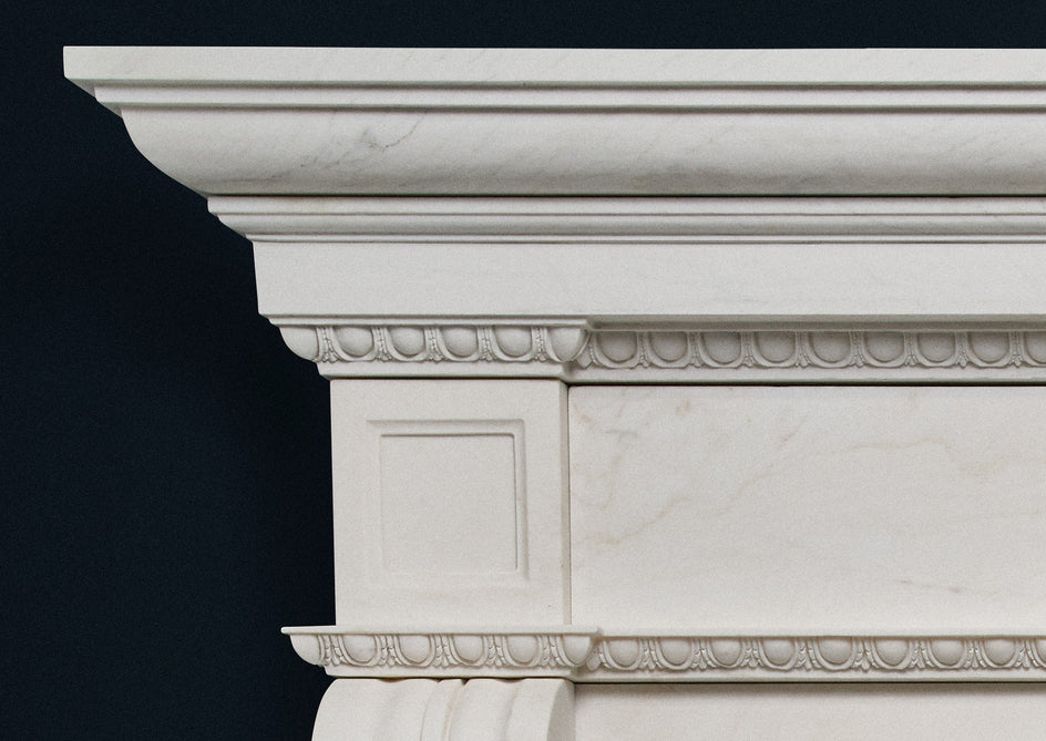 Colonial Fireplace. (White Marble)