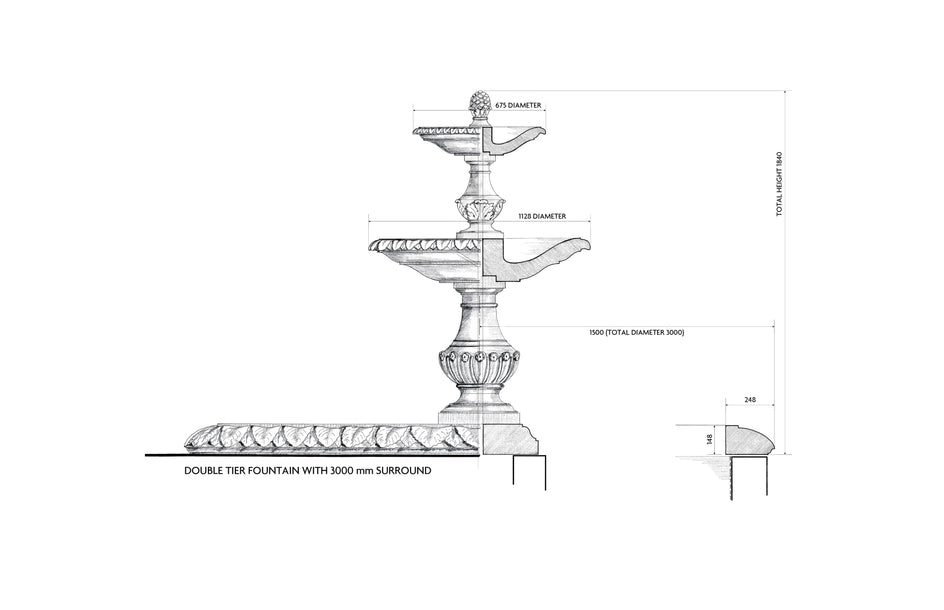 Double Tier Fountain & Surround (Green Marble)