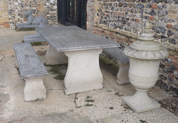 Garden table & 2 bench set in French limestone