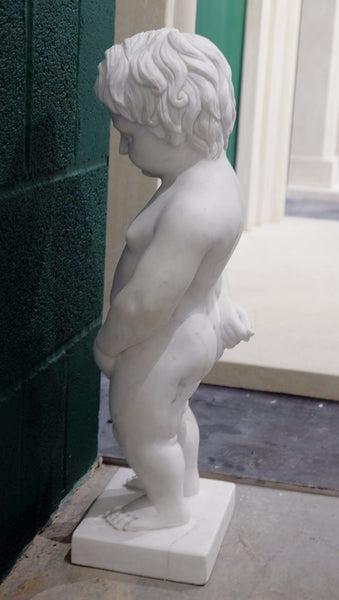 Boys will be boys statue in veined white marble