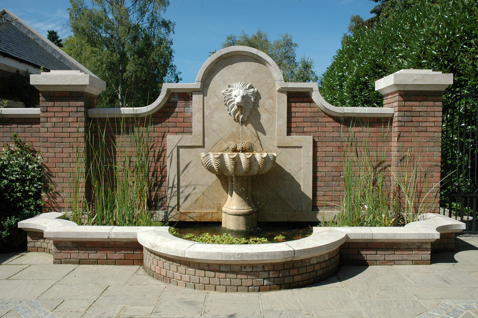 4. Bespoke Lions Head wall Fountain and pool surround