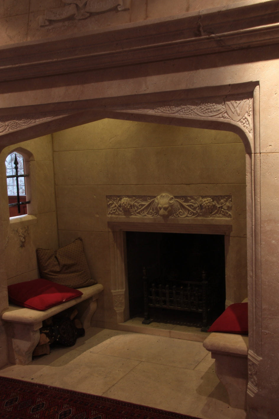 21. Bespoke Walk-in Stone Fireplace detail