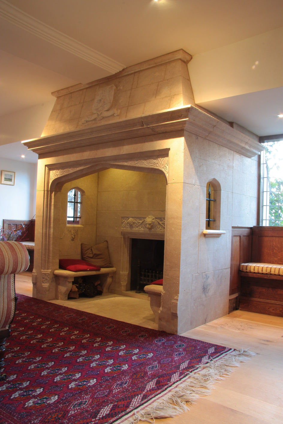 18.  Bespoke Walk-in Stone Fireplace