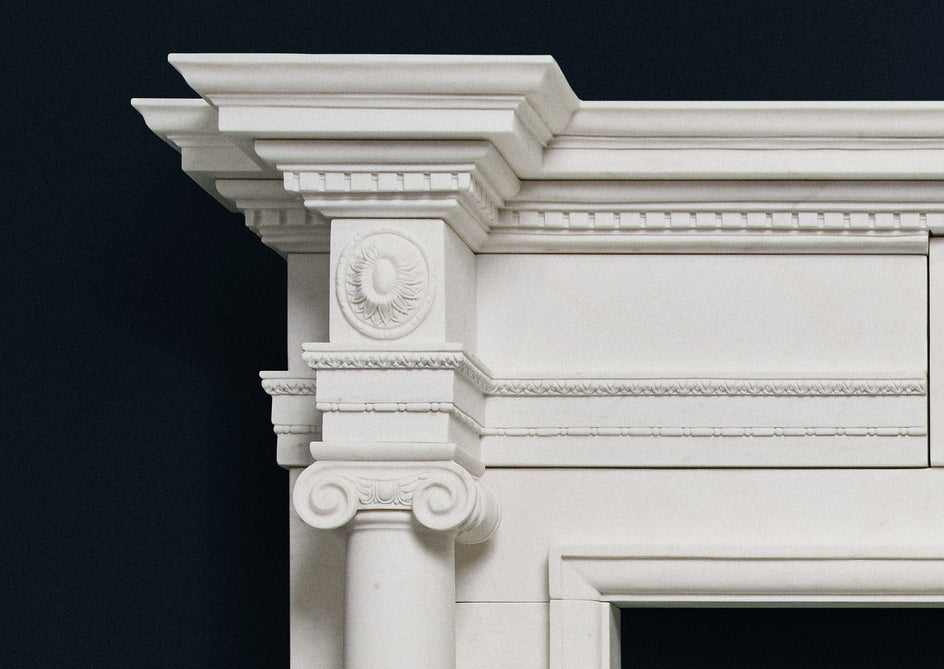 Ionic Fireplace. (White Marble)