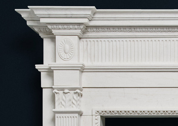 Late Georgian fire surround in white marble