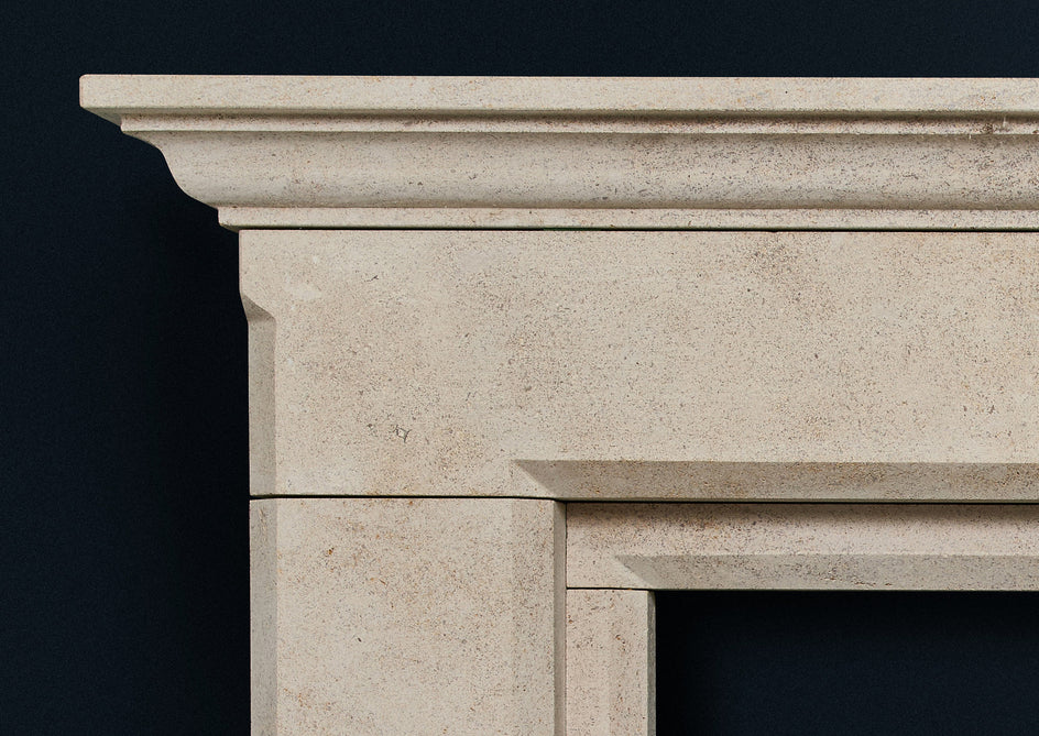 Nayont fireplace carved from solid limestone.