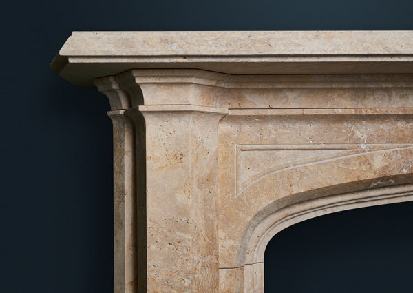 Victorian Pugin fireplace carved  in Golden Travertine