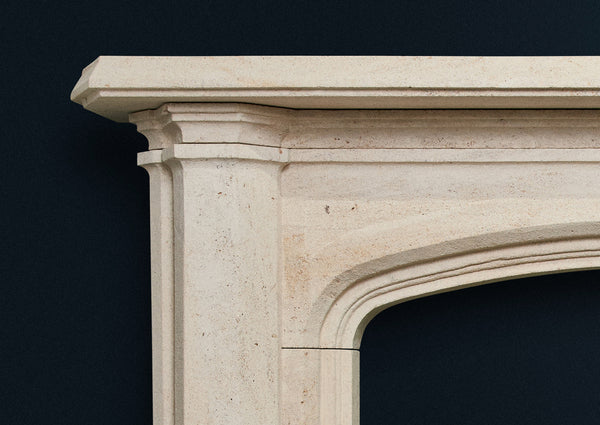 Victorian Pugin fireplace in aged French Limestone