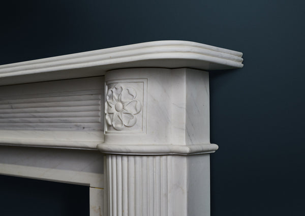 Sir John Soane fire surround in veined white marble