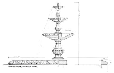 Triple Tier Fountain & Surround (Green Marble)