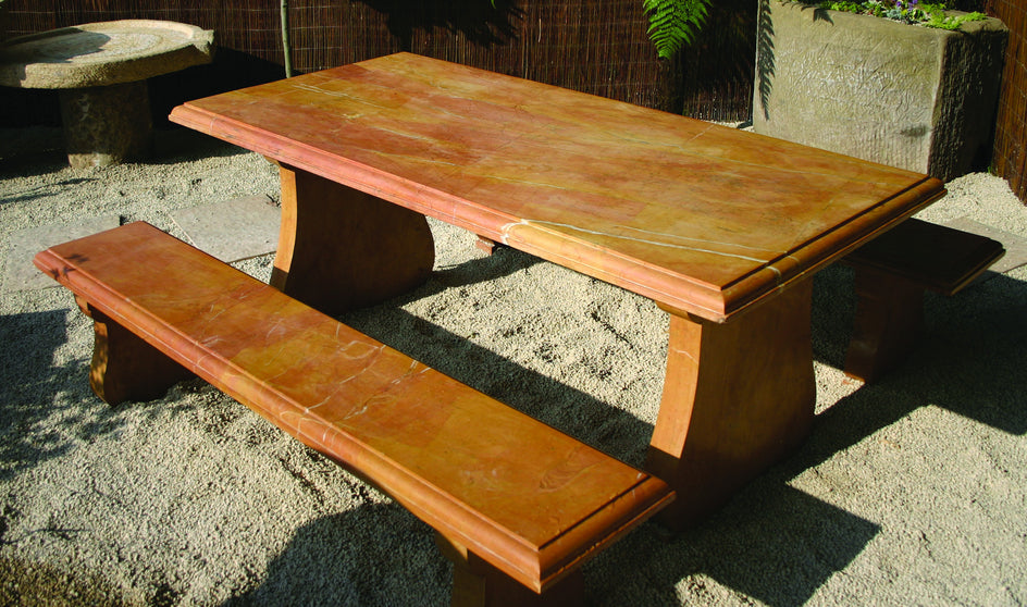 Garden Table & 2 Bench Set. (Yellow Marble)