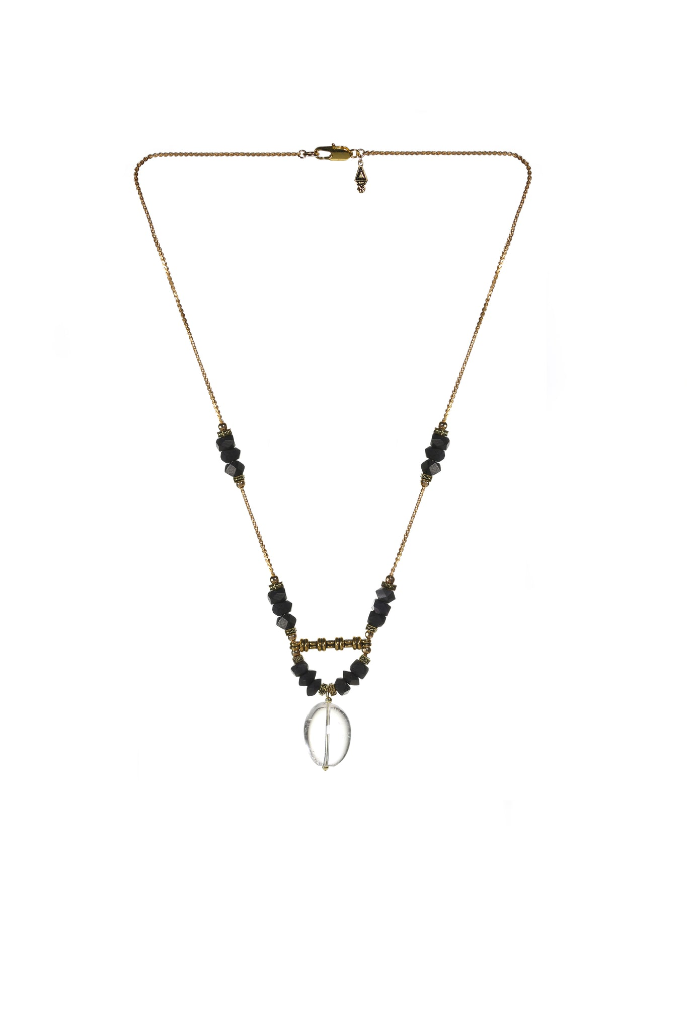 Handmade bohemian jewelry, long crystal necklace made in Canada