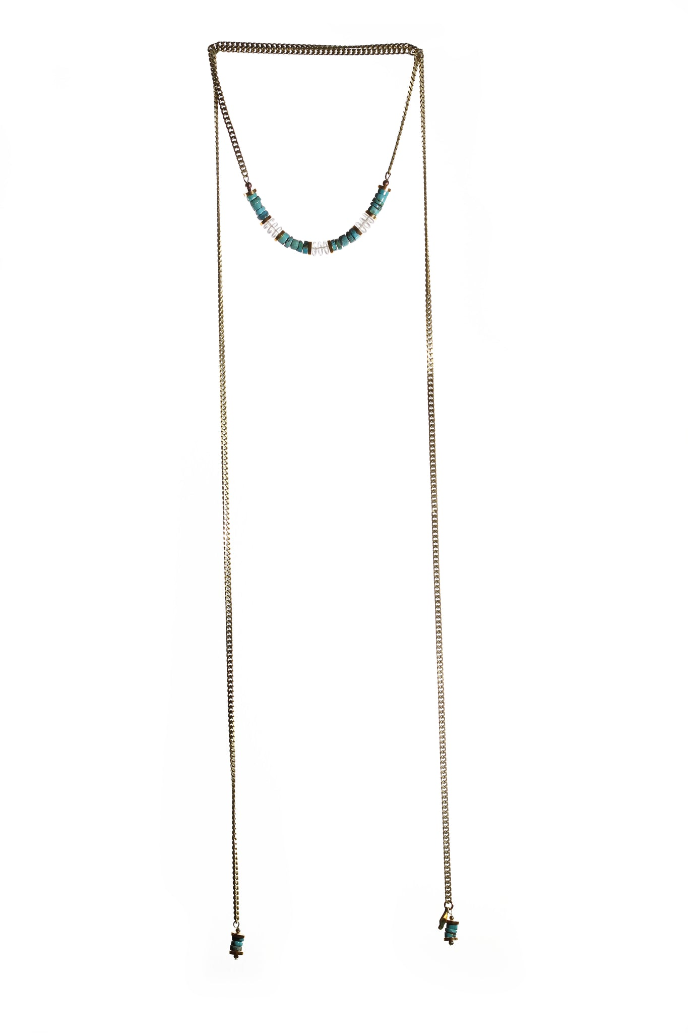 Canadian hand made boho style turquoise long necklace