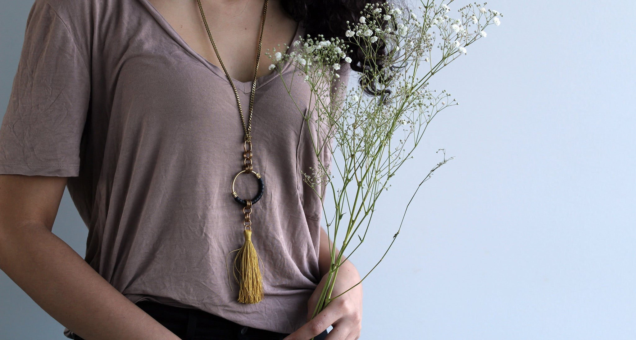 Handmade boho jewelry tassel necklace