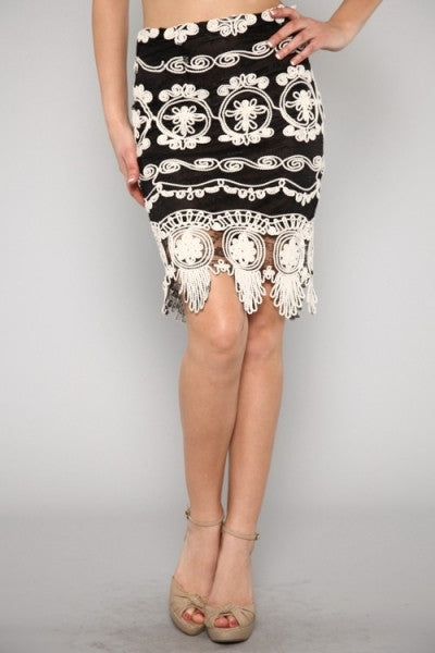 Black & White Embroidered Mesh Skirt