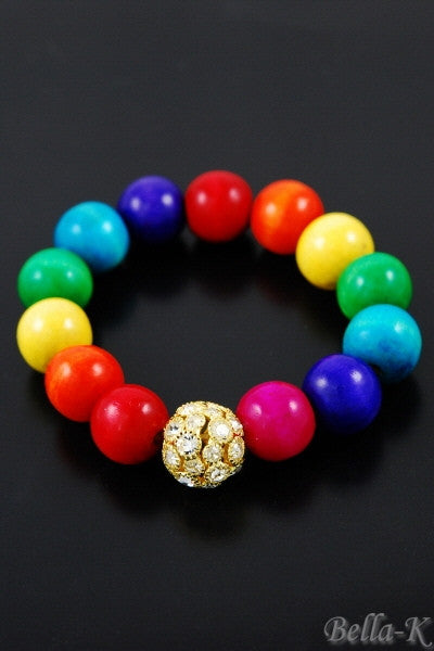 """Colorful"" Beaded Rhinestone Bracelet"