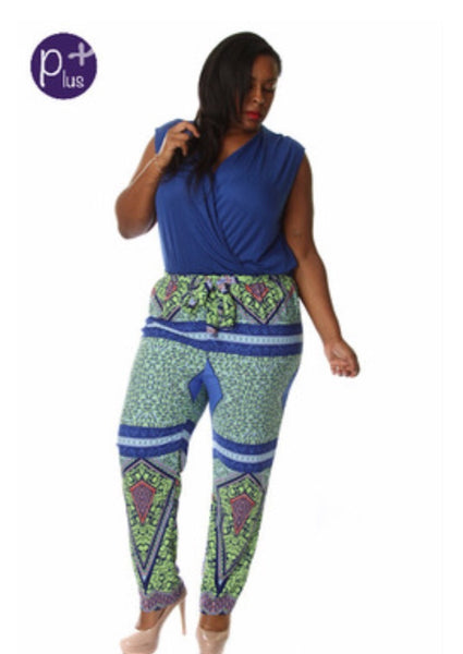 Blue Ethnic Print Jumpsuit with Belt