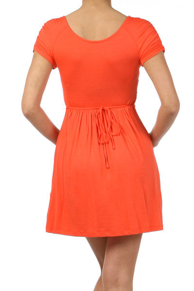 Coral Baby Doll Ruched Dress