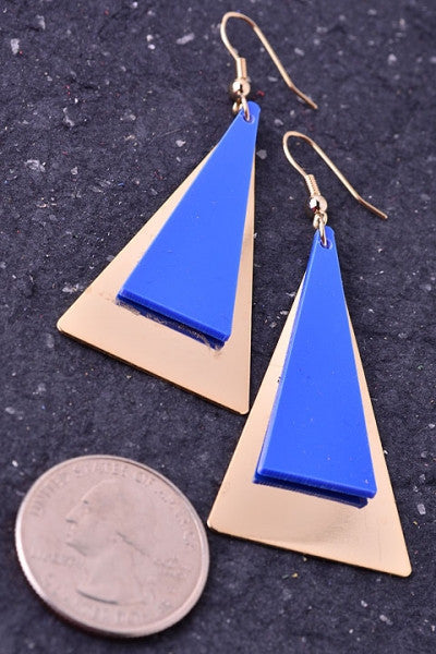Blue & Gold Pyramid Triangle Dangle Earrings