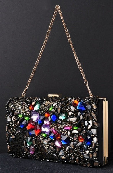 Black Multi Color Crystal Beaded Bag