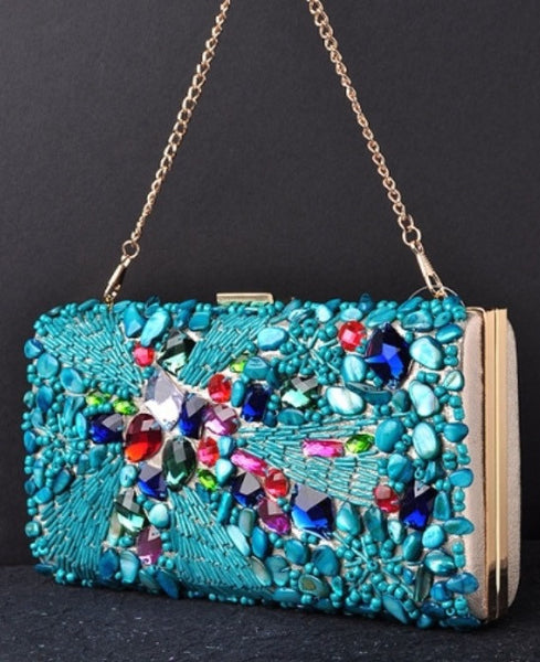 Blue Multi Color Crystal Beaded Bag