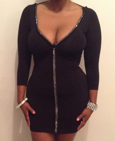 Black Crystal Detail V-Neck Bodycon Dress