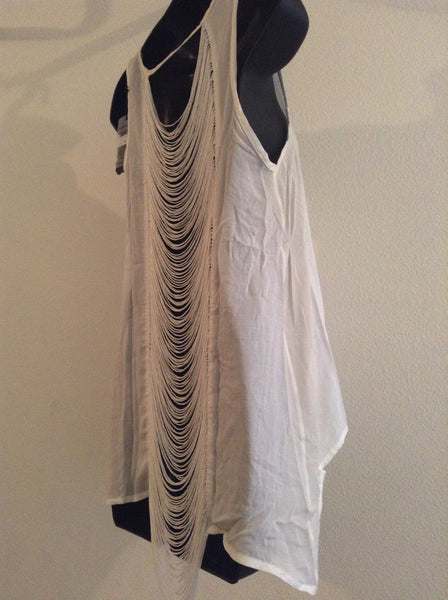 White Shredded Tank Style Shirt