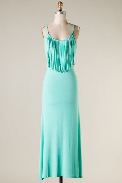 Mint Fringe Maxi Dress