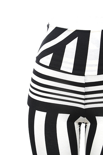 Black & White Striped High Waist Leggings