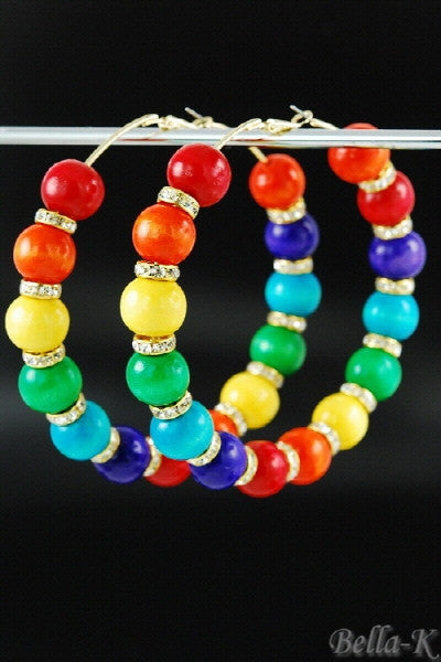 """Colorful"" Beaded Hoop Earrings"