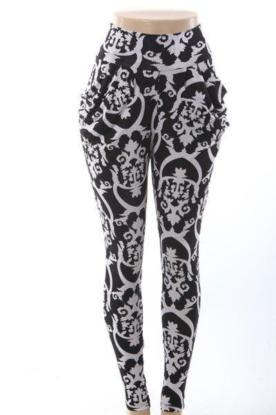 Damask Tribal Print Harem Pants