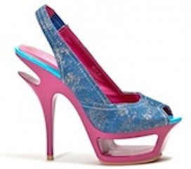 "Denim and Pink Platform ""Juicy"" Lady Couture Heels"