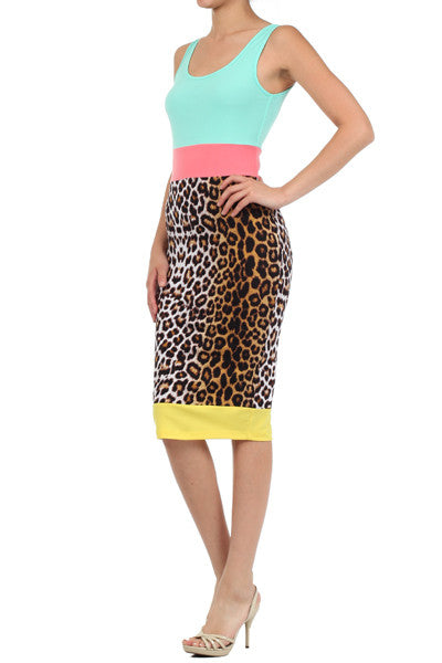 Leopard Cheetah Print Color Block Midi Dress