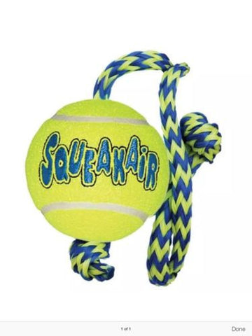 KONG AIR DOG SQUEAKAIR TENNIS BALL ON ROPE SQUEAKY MEDIUM TOY, Toys - Millie and Masons Pet Shop