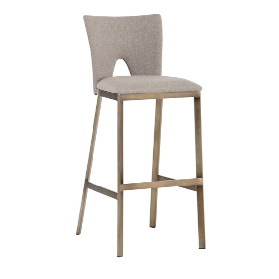 REID BARSTOOL - ANTIQUE GOLD - BISCOTTI BROWN FABRIC
