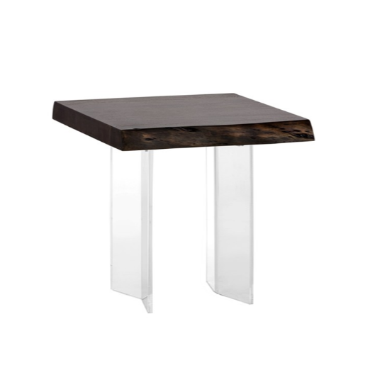 ROSCOE LIVE EDGE END TABLE - ACRYLIC - DARK WALNUT