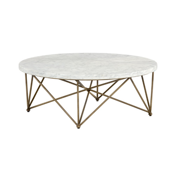 SKYY COFFEE TABLE - ROUND - ANTIQUE BRASS - WHITE MARBLE