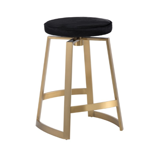 HENDRIX SWIVEL COUNTER STOOL - YELLOW GOLD - BLACK COWHIDE -
